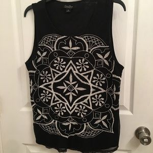 Lucky Brand Black Embroidered Sleeveless Tank Top